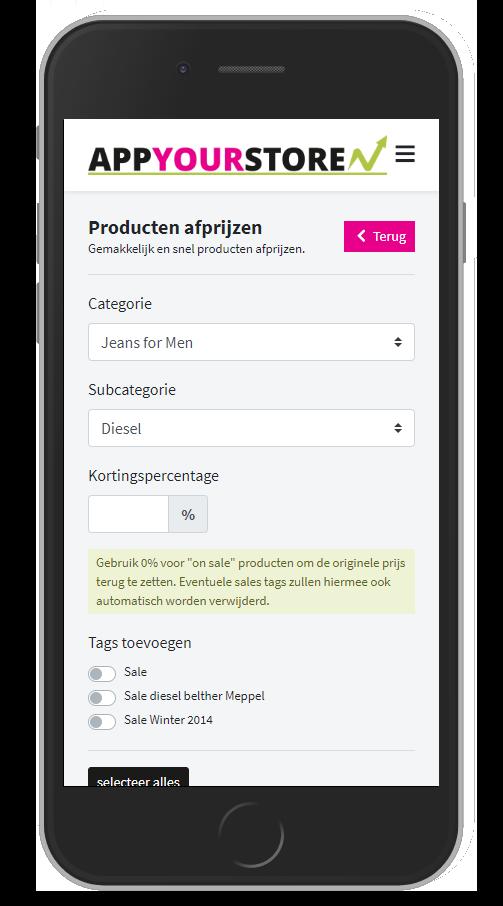 Afbeelding met telefoon en screenshot van de app